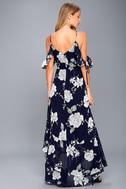 A-Bouquet Navy Blue Floral Print Off-the-Shoulder Maxi Dress 5