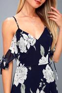 A-Bouquet Navy Blue Floral Print Off-the-Shoulder Maxi Dress 6