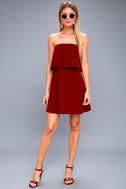 All Night Burgundy Strapless Dress 2