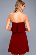 All Night Burgundy Strapless Dress 3