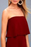 All Night Burgundy Strapless Dress 4