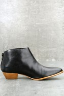 Aida Black Leather Ankle Booties 2