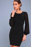 Poetic Love Black Mesh Long Sleeve Bodycon Dress 3