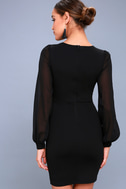 Poetic Love Black Mesh Long Sleeve Bodycon Dress 4
