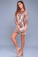 Main Event Rose Gold Sequin Shift Dress 2