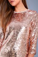 Main Event Rose Gold Sequin Shift Dress 4
