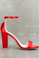 Taylor Red Satin Ankle Strap Heels 3