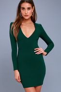Haute in Here Forest Green Long Sleeve Bodycon Dress 3