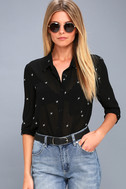 Asher Embroidered Black Long Sleeve Top 3