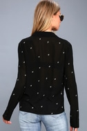 Asher Embroidered Black Long Sleeve Top 4