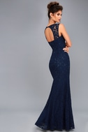 Rosetta Navy Blue Lace Maxi Dress 3