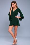 Chrissy Forest Green Flounce Sleeve Wrap Dress 2