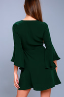 Chrissy Forest Green Flounce Sleeve Wrap Dress 3