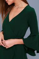 Chrissy Forest Green Flounce Sleeve Wrap Dress 4