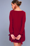 First Date Wine Red Long Sleeve Shift Dress 4
