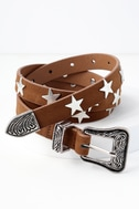 Star Studded Silver and Brown Belt 1