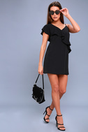 Time of Your Life Black Asymmetrical Shift Dress 1