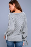 Sweeter Than Candy Heather Grey Lace-Up Sweater 3