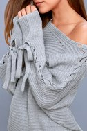 Sweeter Than Candy Heather Grey Lace-Up Sweater 4