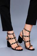 Brooklyn Black Pearl Ankle Strap Heels 1