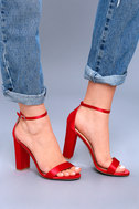 Taylor Red Satin Ankle Strap Heels 5