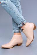 Aida Nude Leather Ankle Booties 5