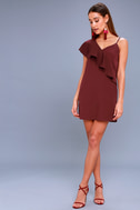 Time of Your Life Burgundy Asymmetrical Shift Dress 1
