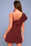 Time of Your Life Burgundy Asymmetrical Shift Dress 4