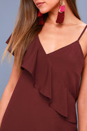 Time of Your Life Burgundy Asymmetrical Shift Dress 5