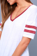 Outfielder Washed Burgundy and White Tee 4