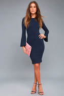 Flair Play Navy Blue Bodycon Midi Sweater Dress 1