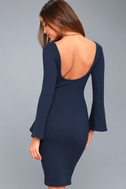 Flair Play Navy Blue Bodycon Midi Sweater Dress 4
