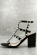 Brooklyn Black Pearl Ankle Strap Heels 3