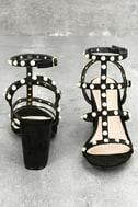 Brooklyn Black Pearl Ankle Strap Heels 5