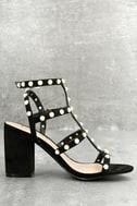 Brooklyn Black Pearl Ankle Strap Heels 4