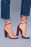 Maricela Wine Suede Lace-Up Heels 1