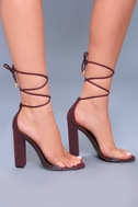Maricela Wine Suede Lace-Up Heels 3