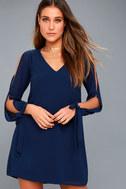 First Date Navy Blue Long Sleeve Shift Dress 2