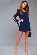 First Date Navy Blue Long Sleeve Shift Dress 1