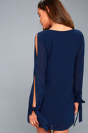 First Date Navy Blue Long Sleeve Shift Dress 4