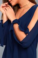 First Date Navy Blue Long Sleeve Shift Dress 5