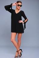 First Date Black Long Sleeve Shift Dress 2
