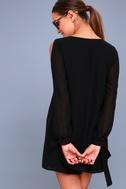 First Date Black Long Sleeve Shift Dress 3