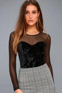Get Into the Groove Black Velvet Long Sleeve Bodysuit 1