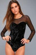 Get Into the Groove Black Velvet Long Sleeve Bodysuit 3