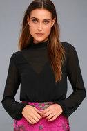Rayne Black Mesh Long Sleeve Bodysuit 1
