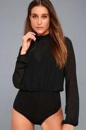 Rayne Black Mesh Long Sleeve Bodysuit 3