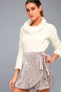 Jayla Taupe Velvet Wrap Mini Skirt 1