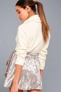 Jayla Taupe Velvet Wrap Mini Skirt 3