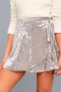Jayla Taupe Velvet Wrap Mini Skirt 4